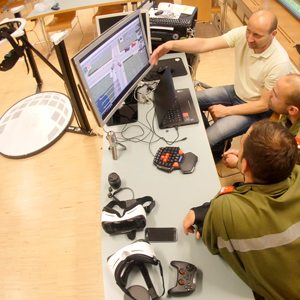 Firefighters analyzing VR Training Results