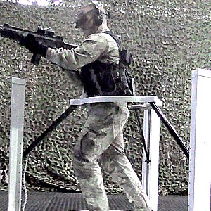 Soldier in Virtualizer VR Treadmill Setup