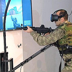 Soldier in Virtualizer VR Locomotion Device